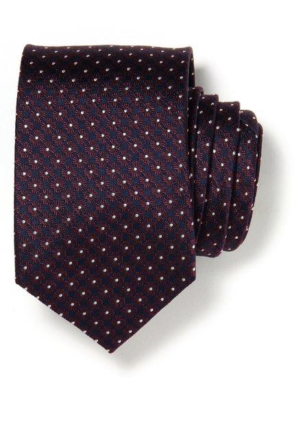 Cravate bleue avec fleurs bordeaux