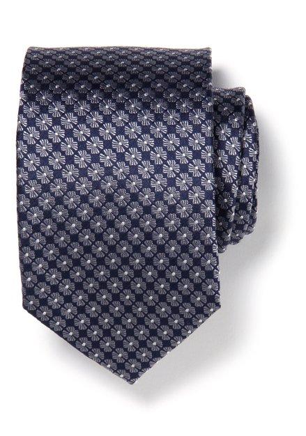 Cravate bleue avec fleurs grises