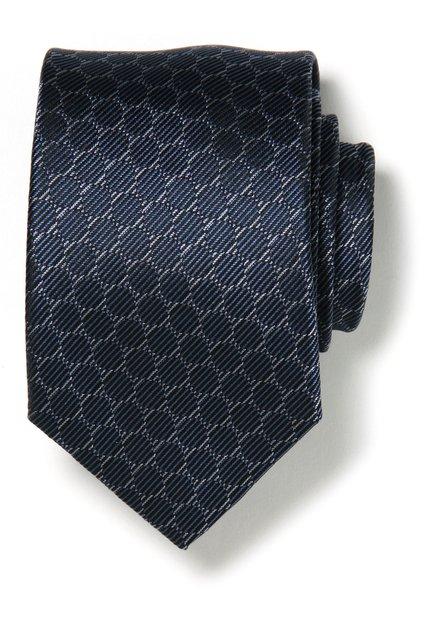 Cravate bleue avec ronds en soie