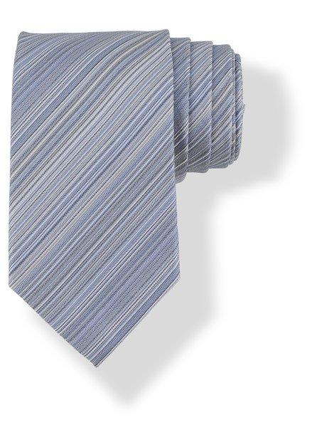 Cravate bleue en soie à fines lignes grises