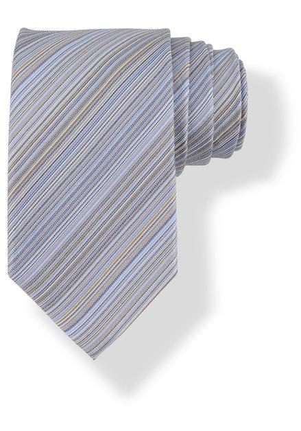 Cravate bleue en soie à fines lignes
