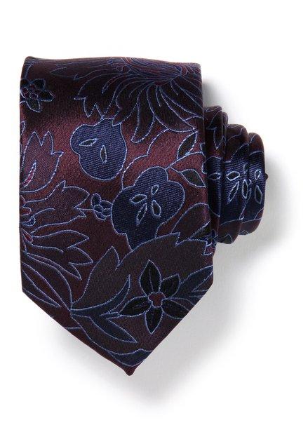Cravate bordeaux à fleurs en soie