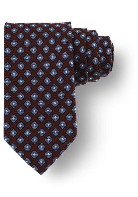 Cravate bordeaux avec imprimé bleu