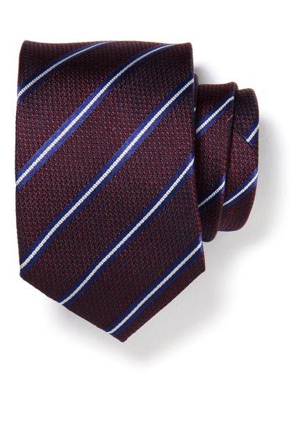 Cravate bordeaux avec rayures en soie