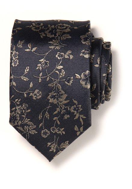Cravate grise à fleurs en soie
