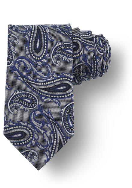 Cravate grise avec motif Paisley bleu