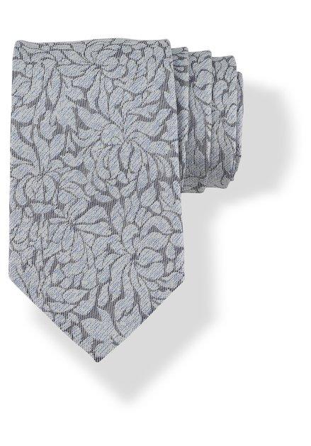 Cravate grise en soie à motif fleuri bleu