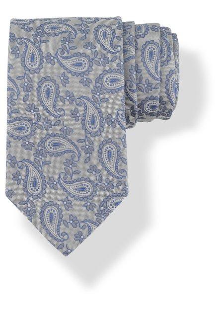Cravate grise en soie à motif oriental bleu