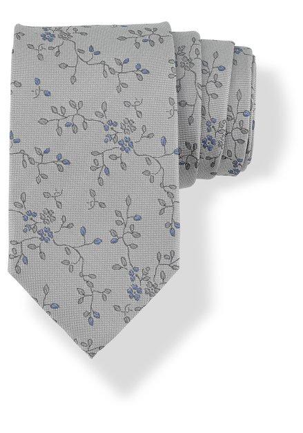 Cravate grise en soie à petites fleurs bleues