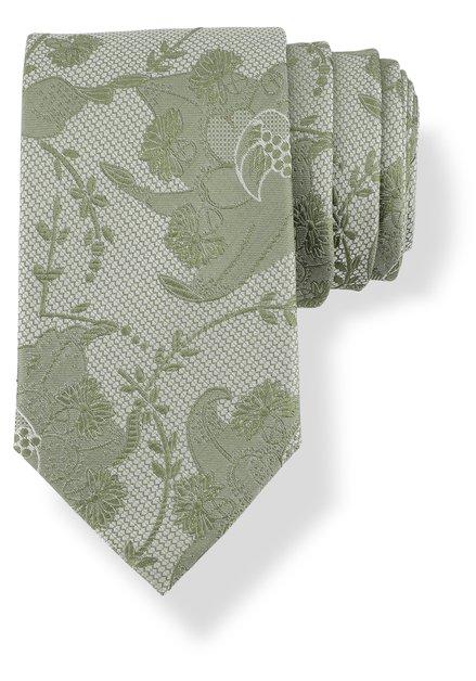 Cravate verte en soie à motif à fleurs