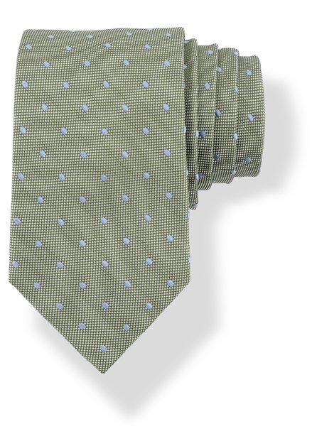Cravate verte en soie à pois bleus