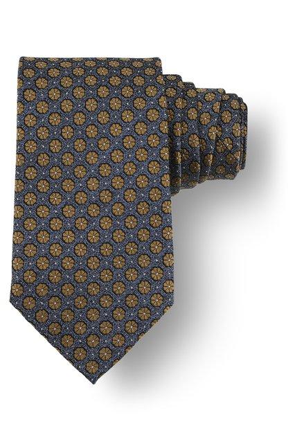 Cravatte bleue à fleurs dorées