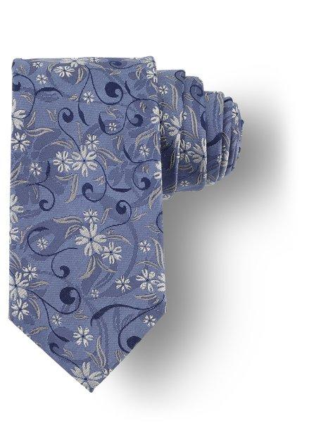 Cravatte bleue à fleurs