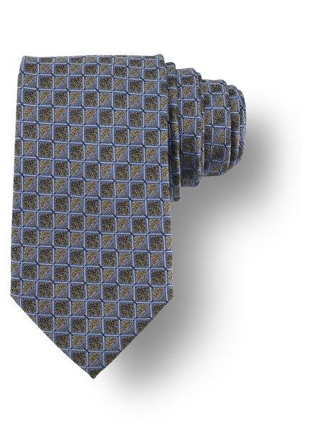 Cravatte dorée à motif bleu