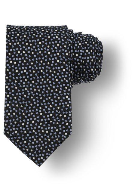 Cravatte noire à pois bleus