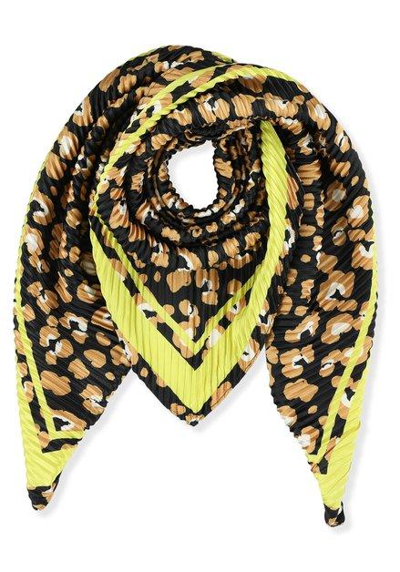 Crinkle foulard met bruine en gele print