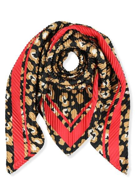 Crinkle foulard met bruine en rode print