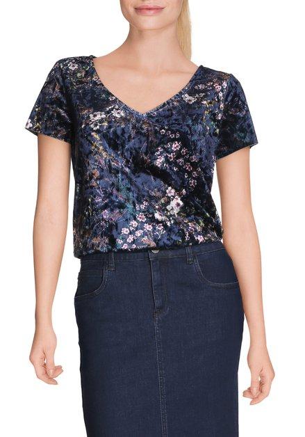 Donkerblauw fluwelen T-shirt met bloemen