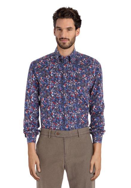 Donkerblauw gebloemd hemd