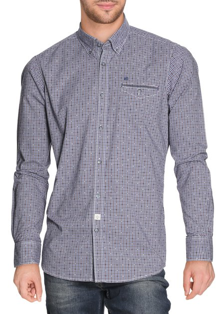 Donkerblauw geruit hemd - modern fit