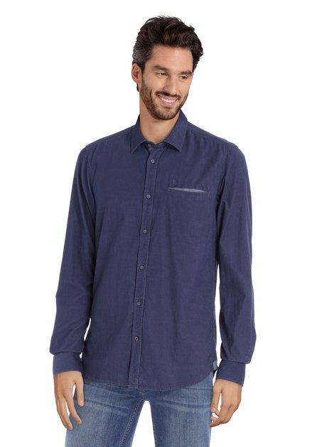 Donkerblauw hemd in ribfluweel