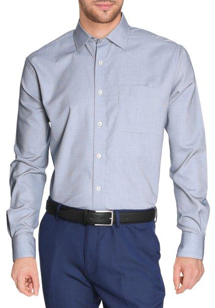 Donkerblauw hemd met miniprint - comfort fit
