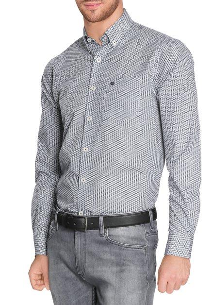 Donkerblauw hemd met miniprint - regular fit