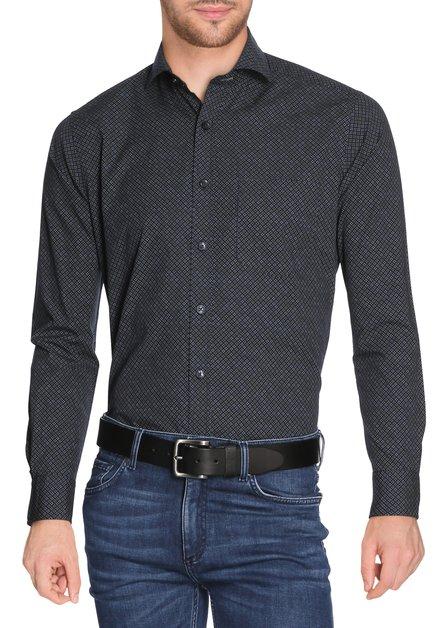 Donkerblauw hemd met miniprint - slender fit