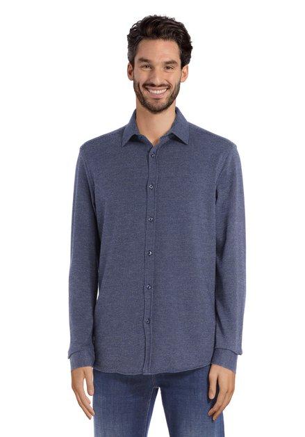 Donkerblauw hemd met miniprint - tailored fit