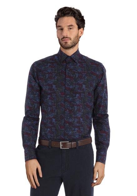 Donkerblauw hemd met paisleyprint - slim fit