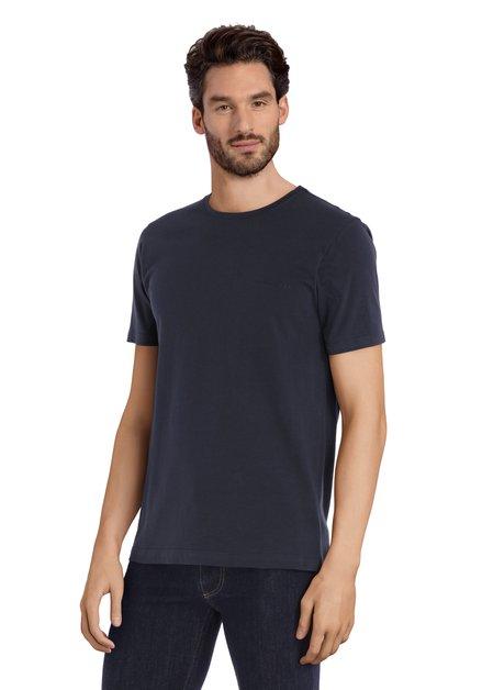 Donkerblauw katoenen T-shirt met ronde hals