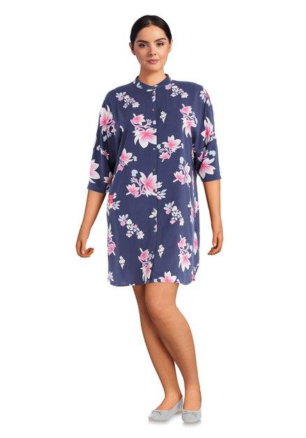 Donkerblauw kleed met bloemenmotief