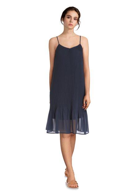 Donkerblauw kleed met plissé