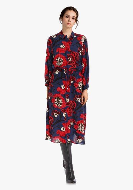 Donkerblauw kleed met rode bloemen