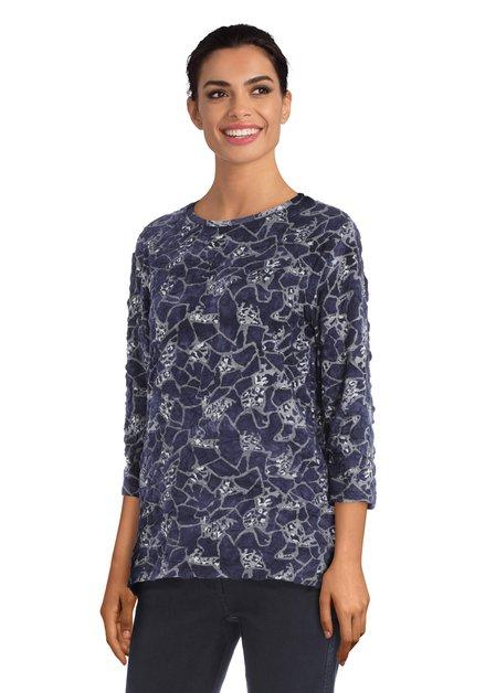 Donkerblauw T-shirt in structuurstof