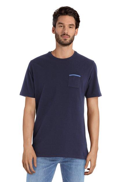 Donkerblauw T-shirt met borstzakje en ronde hals