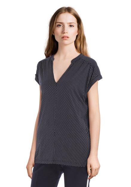 Donkerblauw T-shirt met ecru miniprint