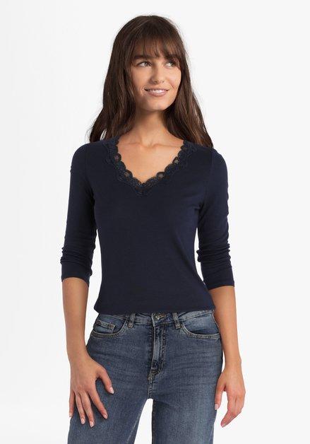 Donkerblauw T-shirt met kant