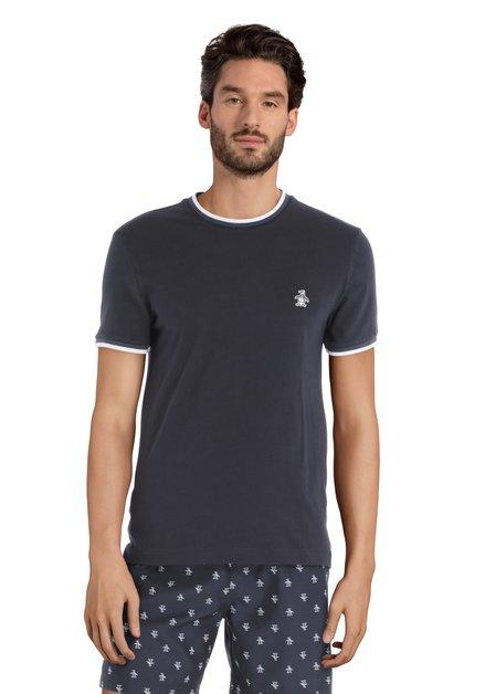 Donkerblauw T-shirt met logo en witte biezen