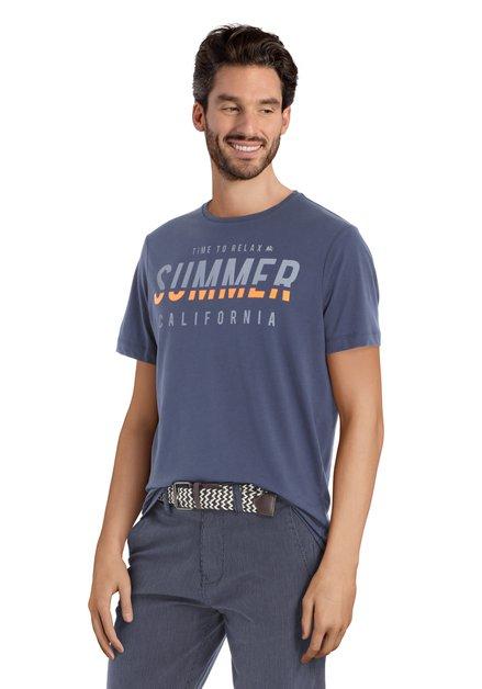 Donkerblauw T-shirt met print