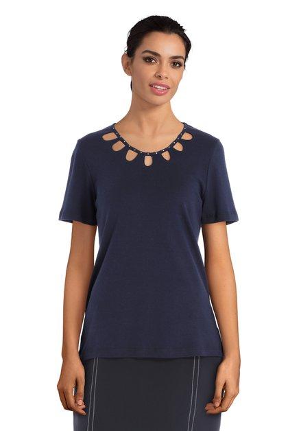 Donkerblauw T-shirt met uitsnijdingen en strass