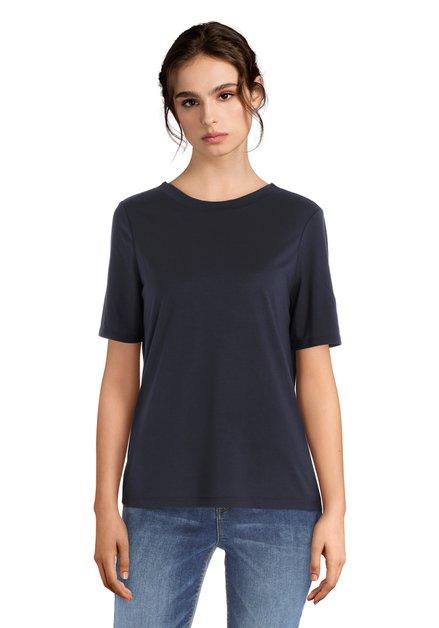Donkerblauw T-shirt met V-hals op de rug