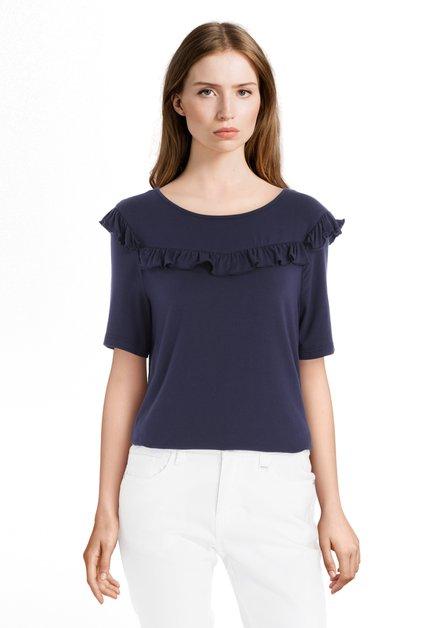 Donkerblauw T-shirt met volants