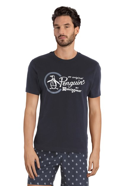 Donkerblauw T-shirt met witte print