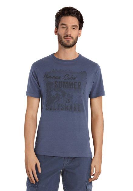 "Donkerblauw T-shirt zwarte print ""Havana, Cuba"""