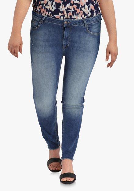 Donkerblauwe 7/8ste jeans met wassing – slim fit