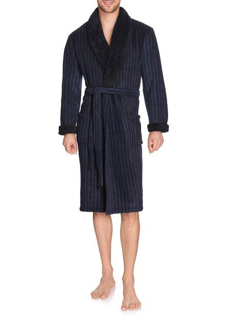 Donkerblauwe badjas met zachte streepjes