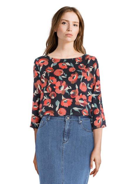 Donkerblauwe blouse met bloemenprint