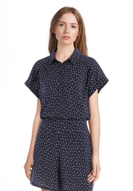 Donkerblauwe blouse met druppelvormige print