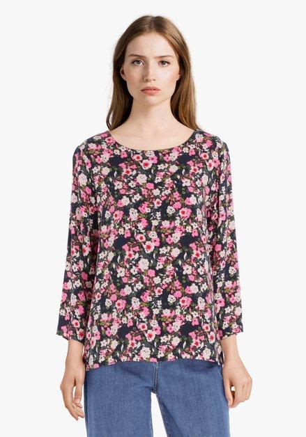 Donkerblauwe blouse met felroze bloemen